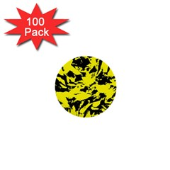Yellow Black Abstract Military Camouflage 1  Mini Buttons (100 Pack)