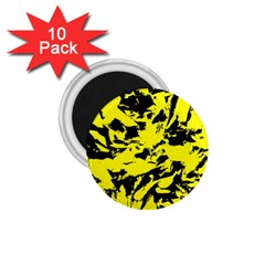 Yellow Black Abstract Military Camouflage 1 75  Magnets (10 Pack)