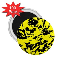 Yellow Black Abstract Military Camouflage 2 25  Magnets (100 Pack)