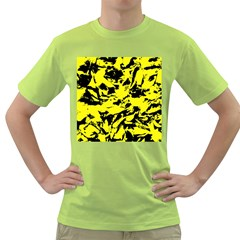 Yellow Black Abstract Military Camouflage Green T Shirt