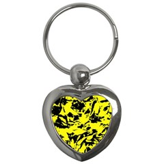 Yellow Black Abstract Military Camouflage Key Chains (heart)