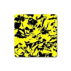 Yellow Black Abstract Military Camouflage Square Magnet