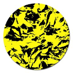 Yellow Black Abstract Military Camouflage Magnet 5  (round)