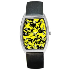 Yellow Black Abstract Military Camouflage Barrel Style Metal Watch