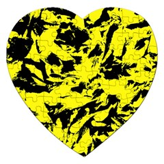 Yellow Black Abstract Military Camouflage Jigsaw Puzzle (heart)
