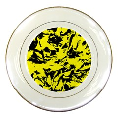 Yellow Black Abstract Military Camouflage Porcelain Plates