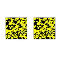 Yellow Black Abstract Military Camouflage Cufflinks (square)