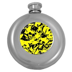 Yellow Black Abstract Military Camouflage Round Hip Flask (5 Oz)