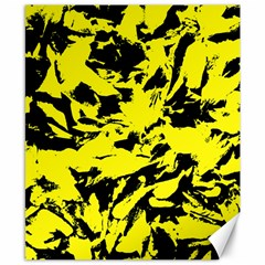 Yellow Black Abstract Military Camouflage Canvas 8  X 10