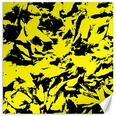 Yellow Black Abstract Military Camouflage Canvas 20  X 20