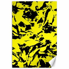 Yellow Black Abstract Military Camouflage Canvas 24  X 36