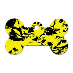 Yellow Black Abstract Military Camouflage Dog Tag Bone (one Side)