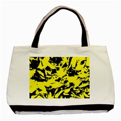 Yellow Black Abstract Military Camouflage Basic Tote Bag (two Sides)