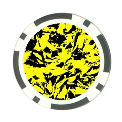 Yellow Black Abstract Military Camouflage Poker Chip Card Guard