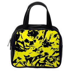 Yellow Black Abstract Military Camouflage Classic Handbags (one Side)