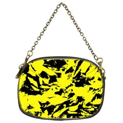 Yellow Black Abstract Military Camouflage Chain Purses (one Side)