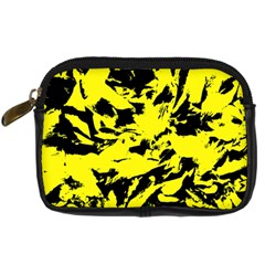 Yellow Black Abstract Military Camouflage Digital Camera Cases
