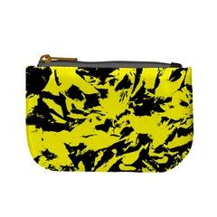 Yellow Black Abstract Military Camouflage Mini Coin Purses