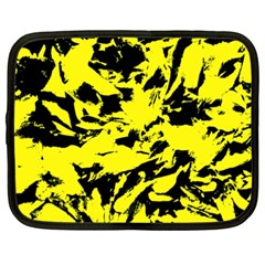 Yellow Black Abstract Military Camouflage Netbook Case (xxl)