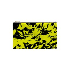 Yellow Black Abstract Military Camouflage Cosmetic Bag (small)