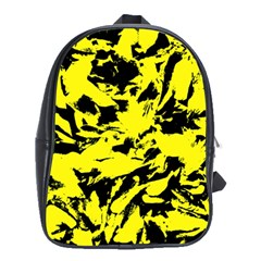 Yellow Black Abstract Military Camouflage School Bag (large)