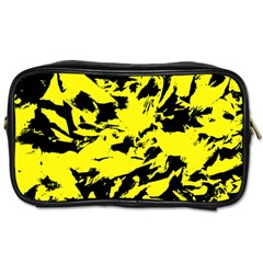 Yellow Black Abstract Military Camouflage Toiletries Bags