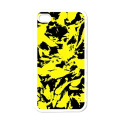 Yellow Black Abstract Military Camouflage Apple Iphone 4 Case (white)