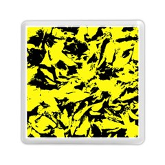 Yellow Black Abstract Military Camouflage Memory Card Reader (square)