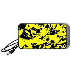 Yellow Black Abstract Military Camouflage Portable Speaker