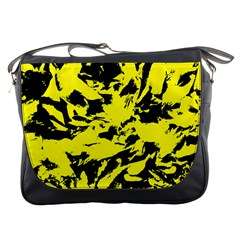 Yellow Black Abstract Military Camouflage Messenger Bags