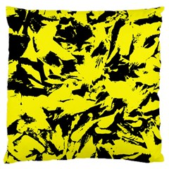 Yellow Black Abstract Military Camouflage Large Cushion Case (one Side)