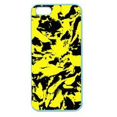 Yellow Black Abstract Military Camouflage Apple Seamless Iphone 5 Case (color)