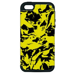 Yellow Black Abstract Military Camouflage Apple Iphone 5 Hardshell Case (pc+silicone)