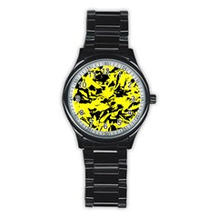 Yellow Black Abstract Military Camouflage Stainless Steel Round Watch