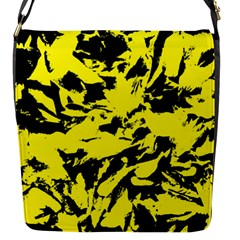 Yellow Black Abstract Military Camouflage Flap Messenger Bag (s)