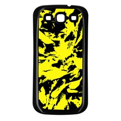Yellow Black Abstract Military Camouflage Samsung Galaxy S3 Back Case (black)
