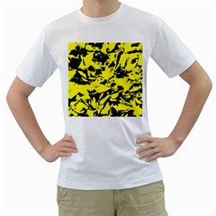 Yellow Black Abstract Military Camouflage Men s T Shirt (white)
