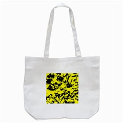 Yellow Black Abstract Military Camouflage Tote Bag (white)