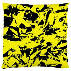 Yellow Black Abstract Military Camouflage Standard Flano Cushion Case (one Side)