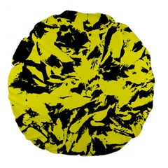 Yellow Black Abstract Military Camouflage Large 18  Premium Flano Round Cushions
