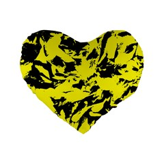 Yellow Black Abstract Military Camouflage Standard 16  Premium Flano Heart Shape Cushions