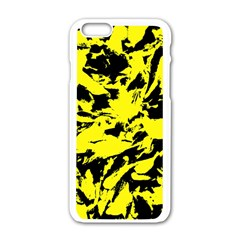 Yellow Black Abstract Military Camouflage Apple Iphone 6/6s White Enamel Case
