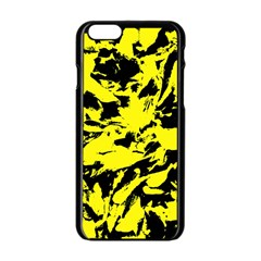Yellow Black Abstract Military Camouflage Apple Iphone 6/6s Black Enamel Case