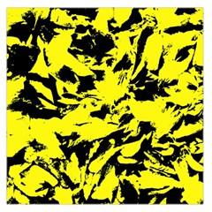 Yellow Black Abstract Military Camouflage Large Satin Scarf (square)