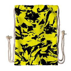 Yellow Black Abstract Military Camouflage Drawstring Bag (large)