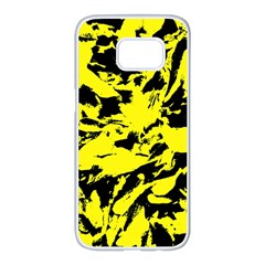 Yellow Black Abstract Military Camouflage Samsung Galaxy S7 Edge White Seamless Case