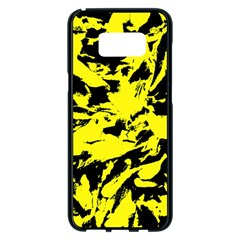 Yellow Black Abstract Military Camouflage Samsung Galaxy S8 Plus Black Seamless Case