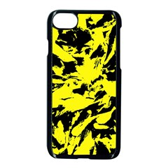 Yellow Black Abstract Military Camouflage Apple Iphone 8 Seamless Case (black)