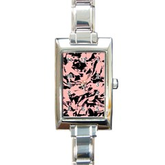 Old Rose Black Abstract Military Camouflage Rectangle Italian Charm Watch