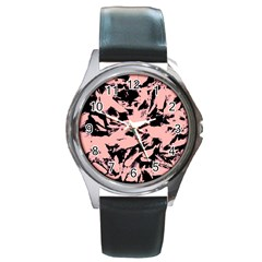 Old Rose Black Abstract Military Camouflage Round Metal Watch